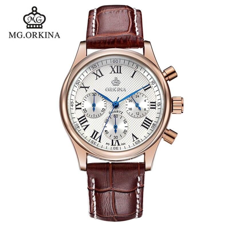 2016 Sale Man Watch Blackcat New Orkina Brand Watches Leather Strap Quartz Fashion 30 Meters Waterproof