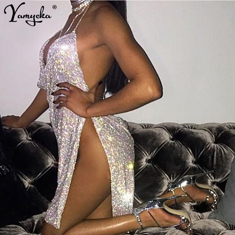 New Sexy Bling diamond Metal body chain Summer Dress Women Beach bandage bodycon dress Sequins Night club Party Dresses Vestidos