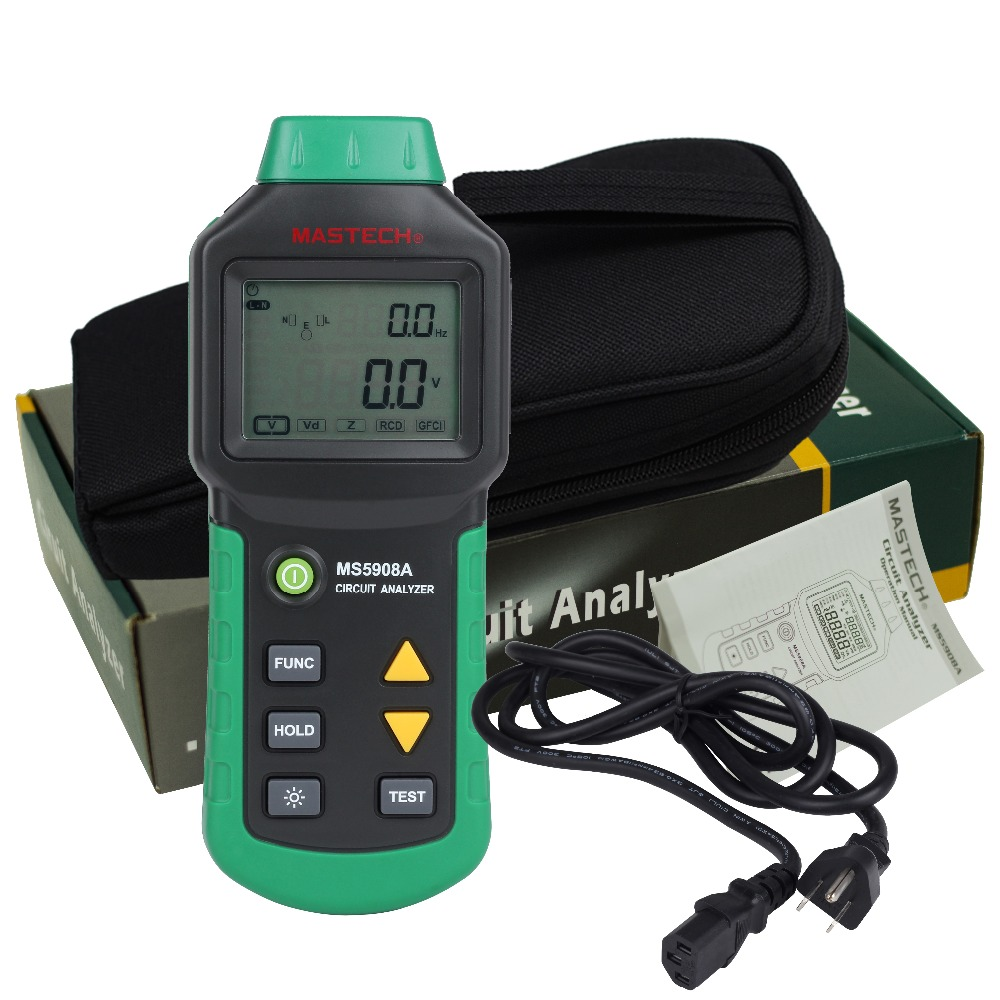 Mastech MS5908 RMS Circuit Analyzer Tester Compared w  IDEAL Sure Test Socket Tester 61-164CN 110V or 220V