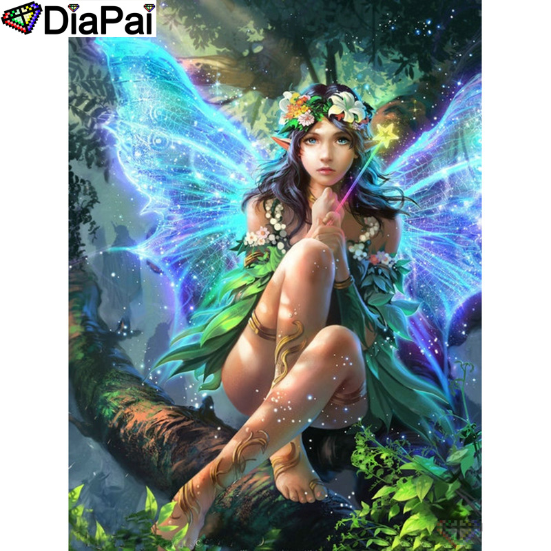 "DIAPAI 5D DIY Diamond Painting 100% Full Square/Round Drill ""Butterfly fairy"" Diamond Embroidery Cross Stitch 3D Decor A22874(China)"