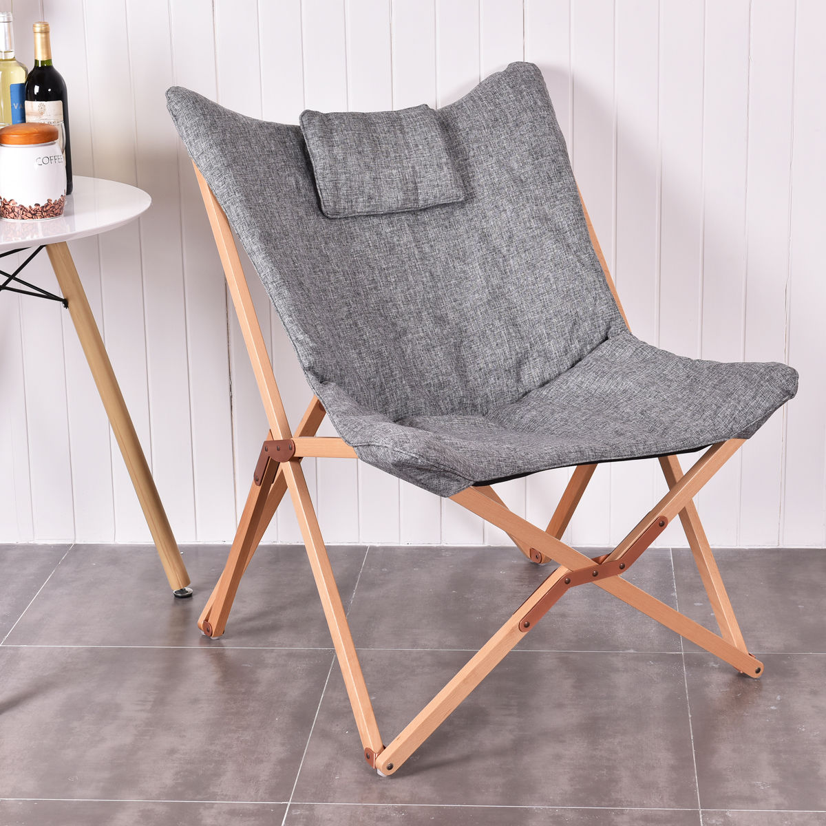 Giantex Home Outdoor Folding Butterfly Chair Seat Wood Frame