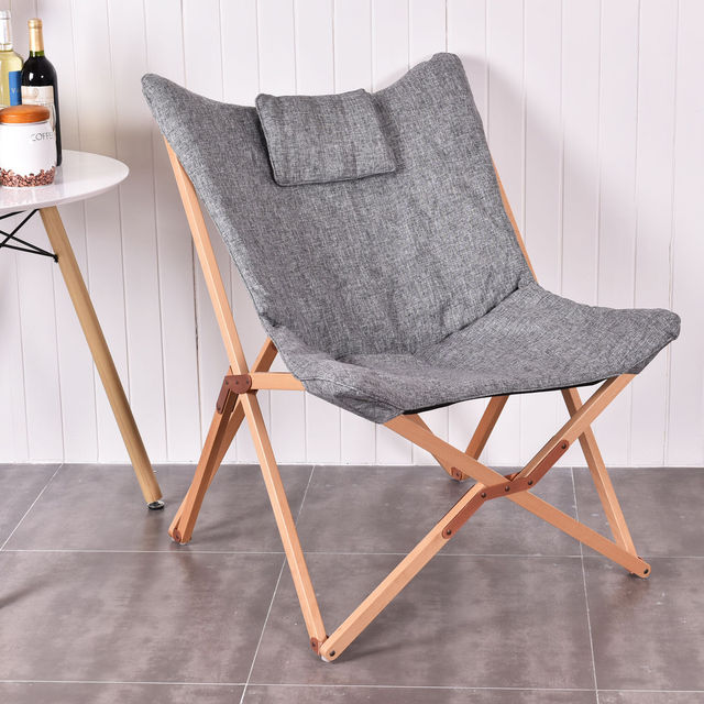Wood Frame Living Room Furniture Pictures Of Sofas Giantex Home Outdoor Folding Butterfly Chair Seat Gray Portable Chairs Hw54442