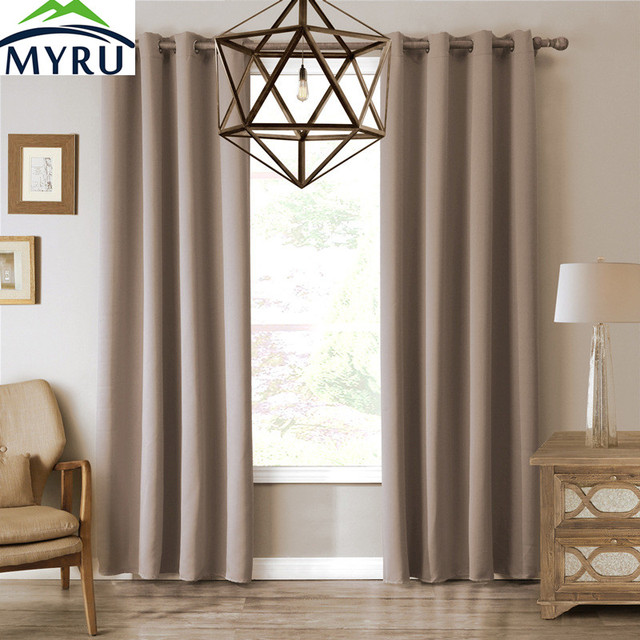 Myru 4 Sizes Pure Color Khaki European Style Window Curtains Polyester For Living Room Bedroom