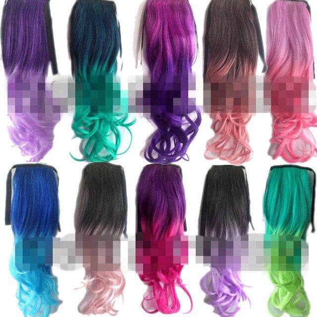 Rainbow Princess Hair Bulk Ribbon Ponytail Synthetic Middle Part