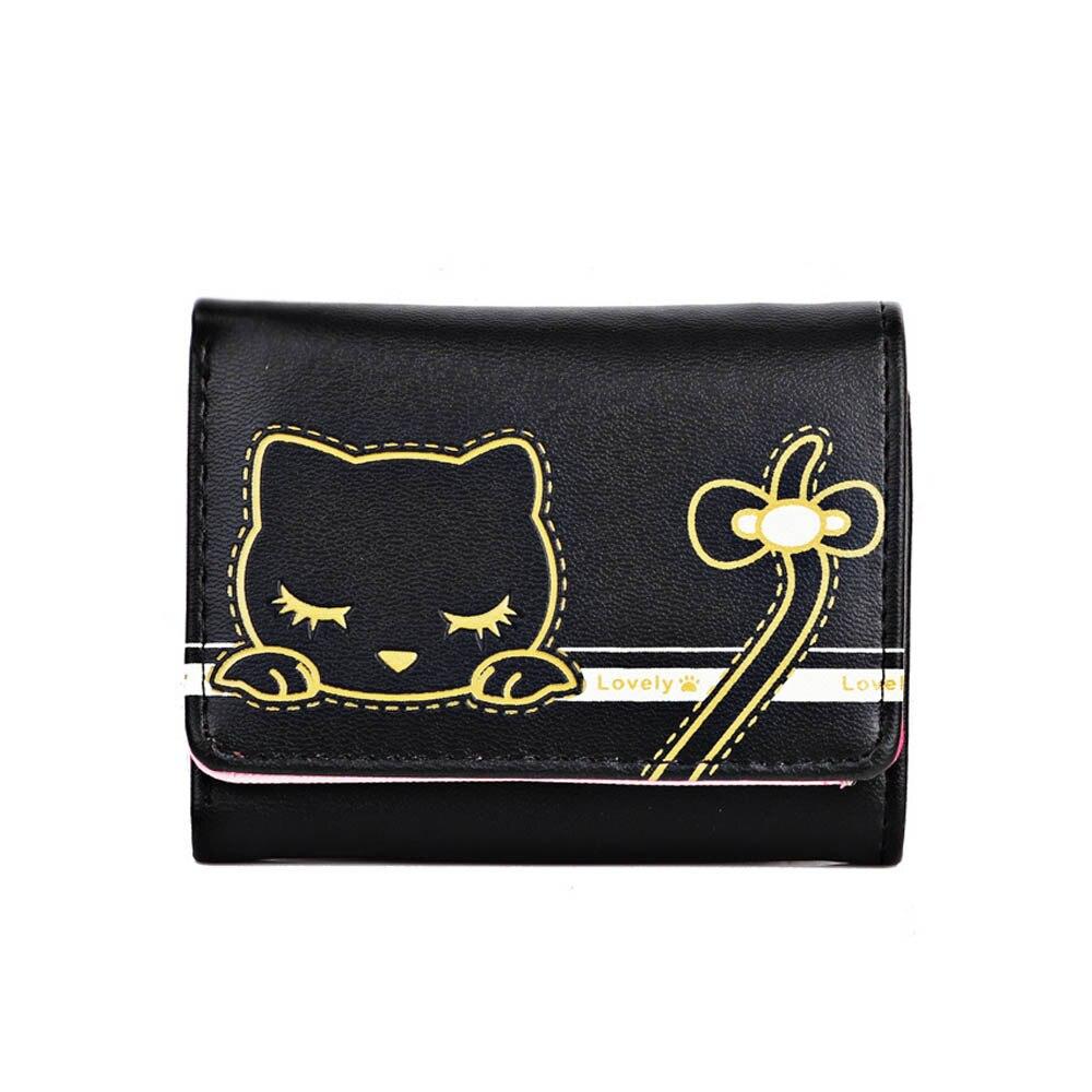 New Women Girls Card Wallet Leather Card Holder Cardholder Cute Portable Cartoon Pattern Short Wallet Changes Card Purse