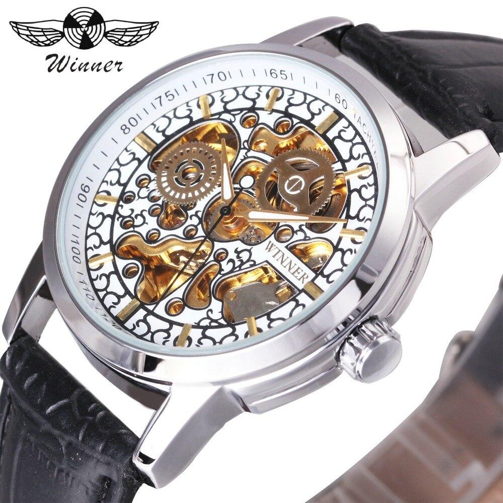 где купить WINNER Fashion Dress Watch Men Auto Mechanical Watches Golden Skeleton Dial White Louvre Series Leather Strap relogio masculino по лучшей цене