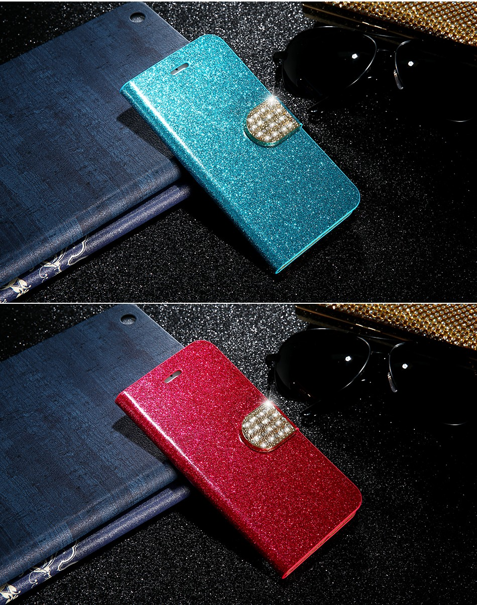 FLOVEME Luxury Bling Diamond Glitter Flip Case for Apple iphone 6 6S 7  Plus 5.5 Leather Girl Bag Wallet Stand Rhinestone Cover (13)