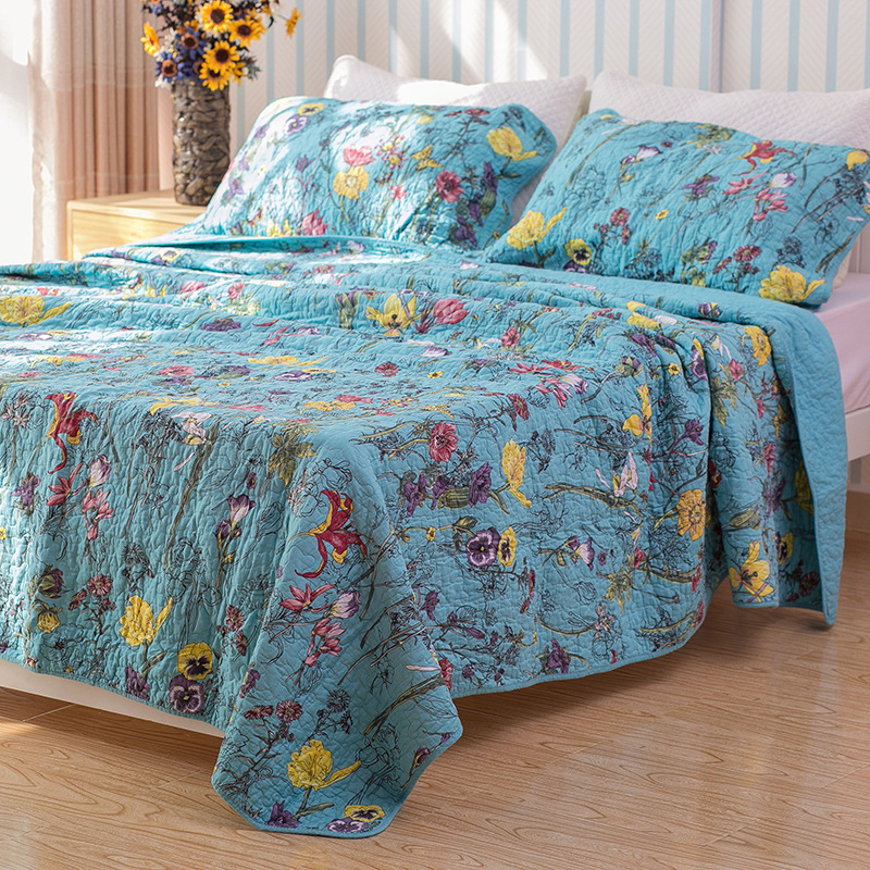 chausub blue satin cotton quilt set 3pcs quilts quilted bedspread king size silk bed cover. Black Bedroom Furniture Sets. Home Design Ideas