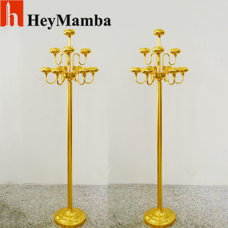 2pcs 10 Arms Gold Plated Candelabra 82cm Metal Candle Holder Wedding Floor  Centerpiece Decoration Candlestick Holder