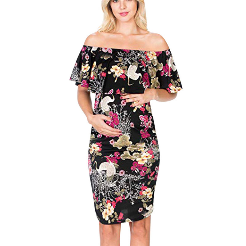 Womens dress Pregnant Sleeveless Floral Ruffles Dress Maternity Off-Shoulder Clothes maternity dresses for photo shoot roupa par photo shoot