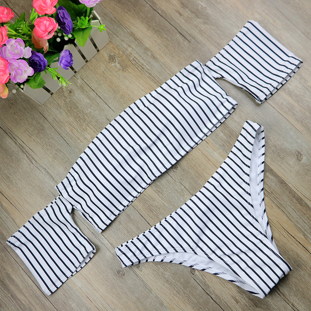Off Shoulder Bikini Women's Beach 2017 Brazilian May Bikinis Set Secret Sex Bath Top New Swimwear Female Swimsuit Indoor 2497