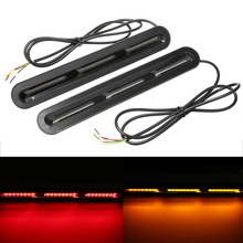 1 Pair 120LED Dual Color LED Car Rear Brake Light 2835 SMD Tail Flashing Flowing Turn Signal Lamp for 12-24V Truck Trailer RV