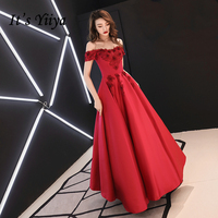 2c7d33a19a51a32 It S YiiYa Evening Dress Embroidery Flowers Pearls Wedding Formal Dresses  Red Boat Neck Lace Up