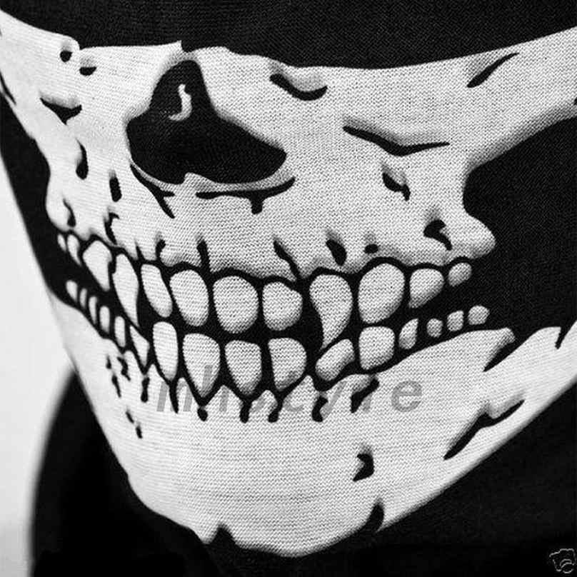جديد المؤهلين هالوين الجمجمة حزب الأسود قناع الرقبة مخيف أقنعة دراجة نارية متعددة الوظائف أغطية الرأس قناع تنكر ماردي غرا
