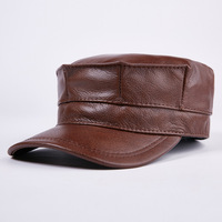 General Fitted Adult Unisex Genuine Leather Baseball Cap Octagonal cap Men's Brand New Cowhide Newsboy Caps Hats army cap