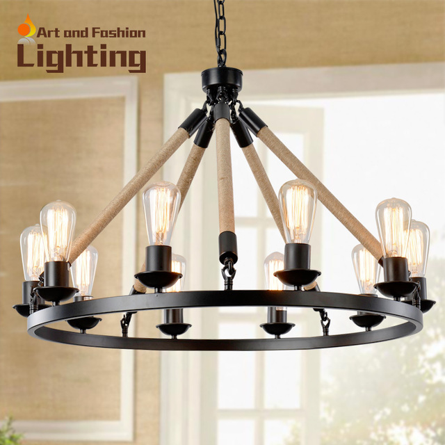 American Country Edison Chandelier Lamps Antique Rope Lights Restaurant Dining Room Rust Colored