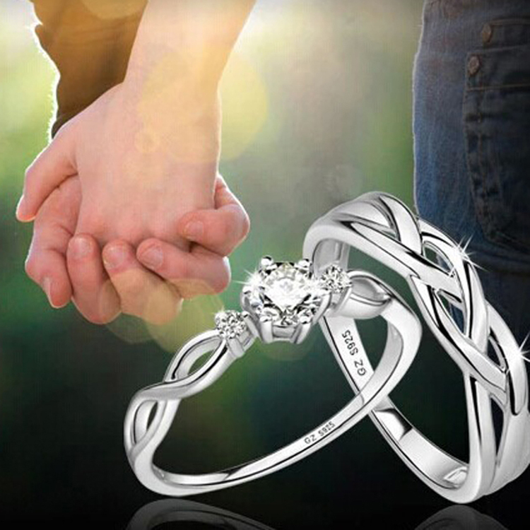 Hot Sale 1pc Fashion Silver Color Love Intertwined Opening Adjustable Rhinestone Couple Ring Drop Shipping