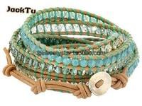Vrouwen verstelbare blauw gemengde crystal groene draad lederen wrap armband