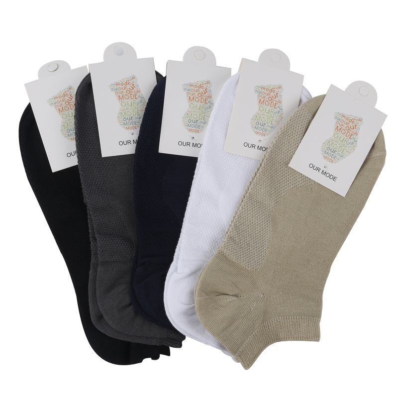 OUR MODE summer men brand business bamboo fiber boat socks male mesh bottom ankle socks short sock 5pairs/lot