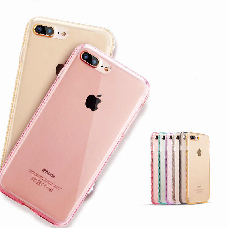 SIXEVE พลอยเทียมสำหรับ iPhone 6 วินาที 6 วินาที X 7 8 พลัส 6 บวก 7 บวก 8 บวกหัวเว่ย P8 P9 Lite อ่อนนุ่มโทรศัพท์มือถือกลับปกคลุม