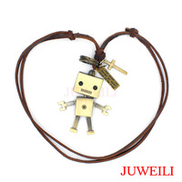 JUWEILI Jewelry Retail 1x Cartoon Characters Santa Claus Baymax Robot Copper Adjustable Leather Necklace Pendant Students