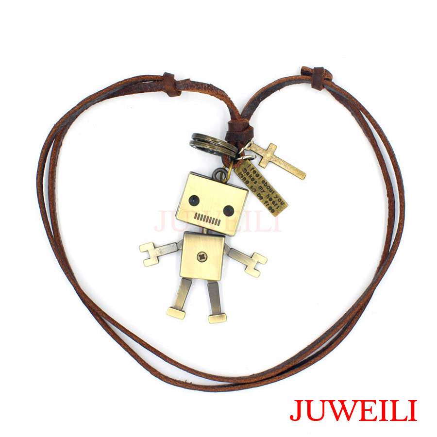 JUWEILI Jewelry 1x Cartoon Characters Santa Claus Baymax Robot Copper Adjustable Leather Necklace Pendant Students Gift ...