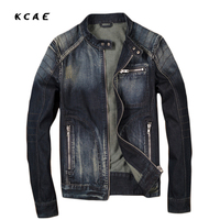 High Quality Brand Mens Stand Collar Motorcycle Biker Denim Jackets Men S Slim Classic Retro Zipper