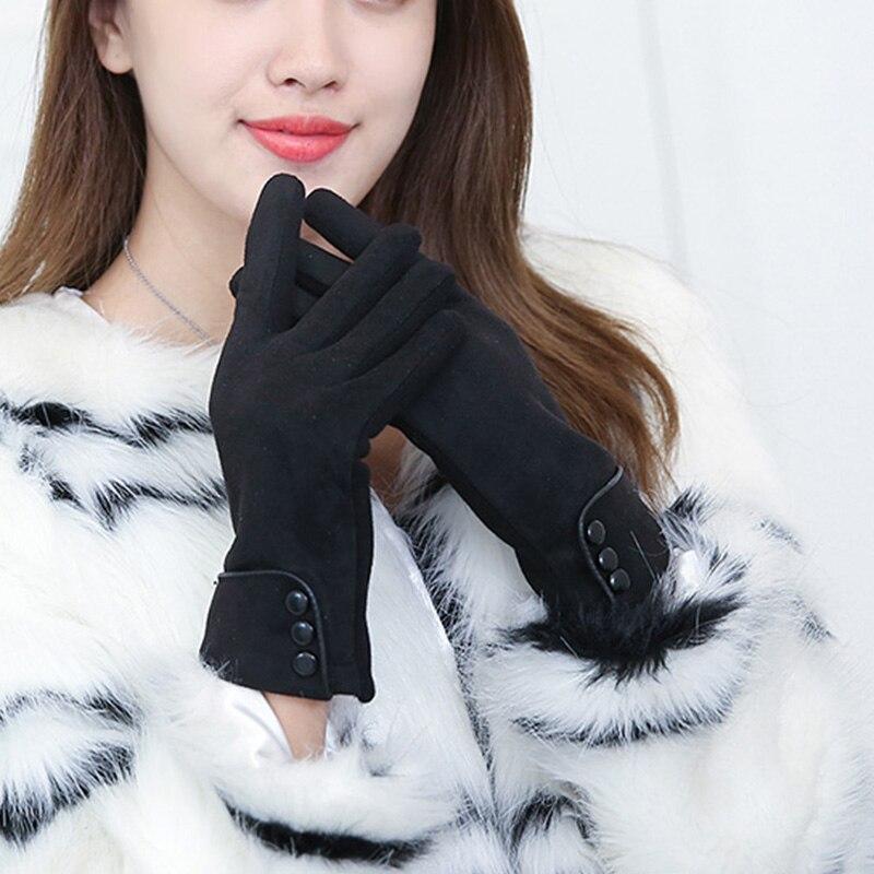 2016 New arrival Brand Women Female Button Touch Screen Girls Outdoor Winter Warm Glove Wrist Gloves For Women Hot Sale Mittens
