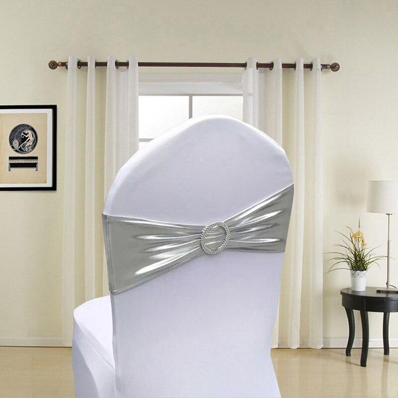 100pcs Metallic Gold Silver Spandex Lycra Chair Sashes Bands Royal Blue Purple Pink Chair Cover Sash