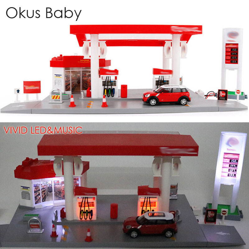 Chilren Simulation Gas Station With Sound and Light Kids Toy Vehicle Car Set Road Signs Free Gift Map