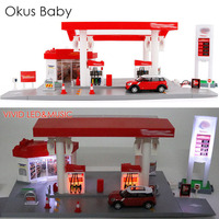 Chilren Simulation Gas Station With Sound and Light Kids Toy Vehicle Car Set With Road Signs Free Gift Map