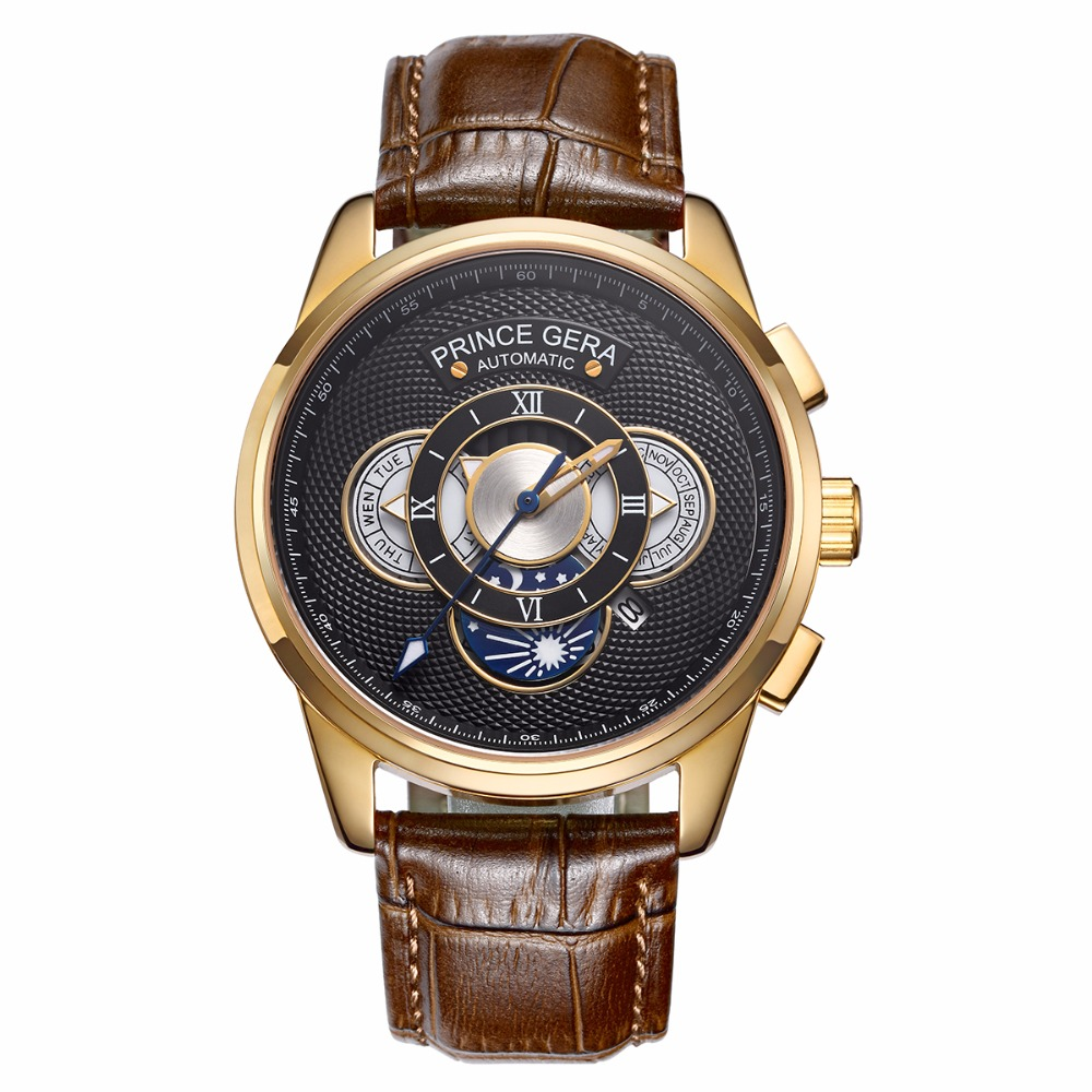 PRINCE GERA Gold Men's Waterproof Mechanical Automatic Casual Wrist Watches Leather Straps Calendar Moon Phase Watch For Men сумки gera сумка