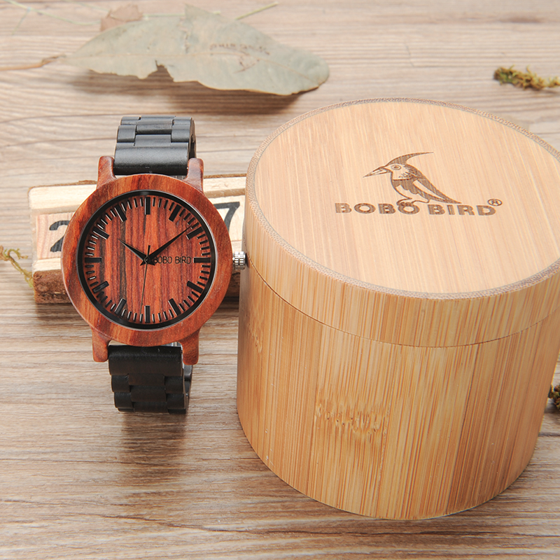 2017 BOBO BIRD Men Watch Natural Full Wooden Watches Wooden Band with Paper Gift Box relogio masculino B-M05 bobo bird luxury designer watches men style wooden watch wood strap wristwatch with paper gift box relogio masculino brand top