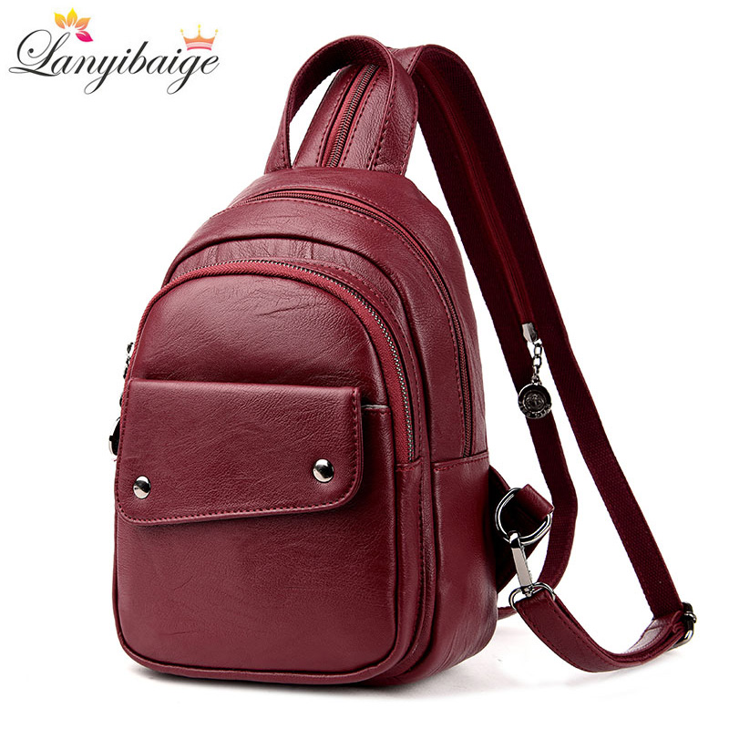 LANYI High Quality Leather High capacity Women Backpacks School Backpack For Teenager Girl Fashion Multifunction Women Rucksack