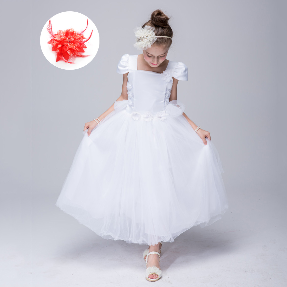 Cap Sleeve Flower Belt Peach Flower Princess Girl Dress Wedding Party Pure White Long Dresses for Kids Vintage Evening Gowns