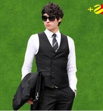 Mens traje chaleco Slim fit chaleco negro chaleco azul marino botón doble de pecho chaleco hombre hombre vestido de traje chalecos chaleco formal