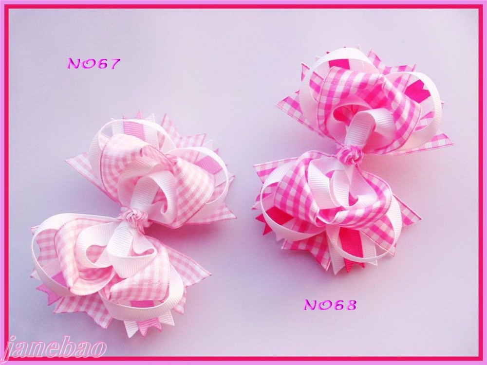 free shipping 60pcs 4 5 gingham Funky Hair Bow Girl boutique layered hair clips christmas 4th