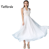 AG6207 Chiffon Dress Bohemian Style Pure White Fairy Summer Beach Dress Lady Empire Holiday Chiffon Woman