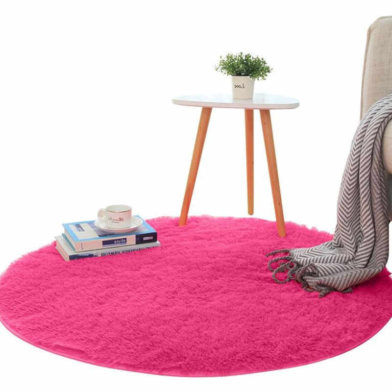 Round carpet solid color simple silk floor mat bedroom study rug chair hanging basket computer swivel chair ottoman blanket