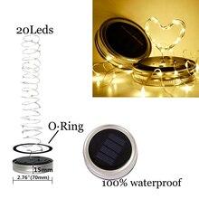 2pcs Solar Mason Jar Lights 20 Led String Fairy Firefly Lids Insert use for Jar,Patio,Lawn,Garden Decor