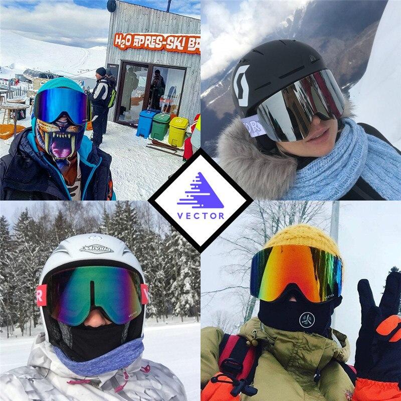 VECTEUR Ski Lunettes Hommes Femmes 2 Lentille UV400 Anti-brouillard Ski Lunettes Motoneige Snowboard Neige Lunettes De Patinage Masque de Ski lunettes - 6
