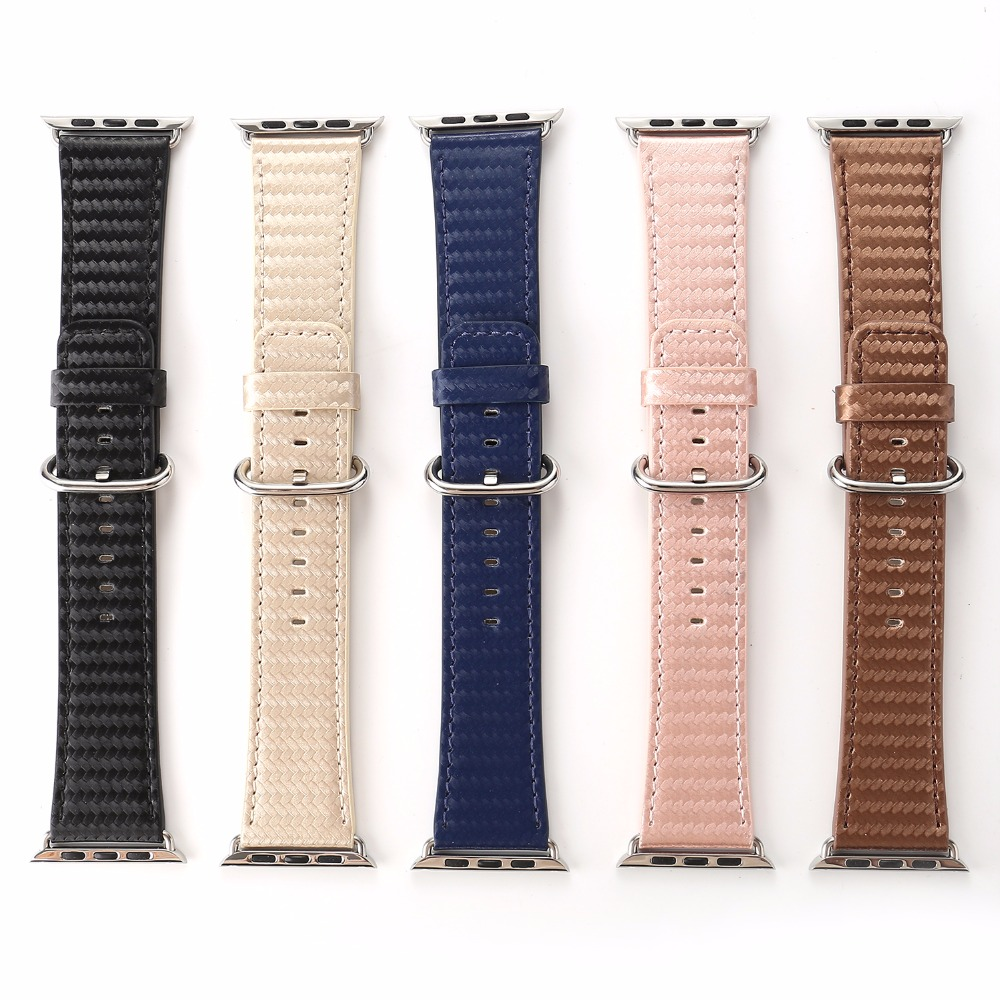 Carbon Fiber Prints PU Leather Watch Band Strap for 38/42mm Apple Watch Black Blue Brown Pink Wristwatch Bracelet Belt I221.