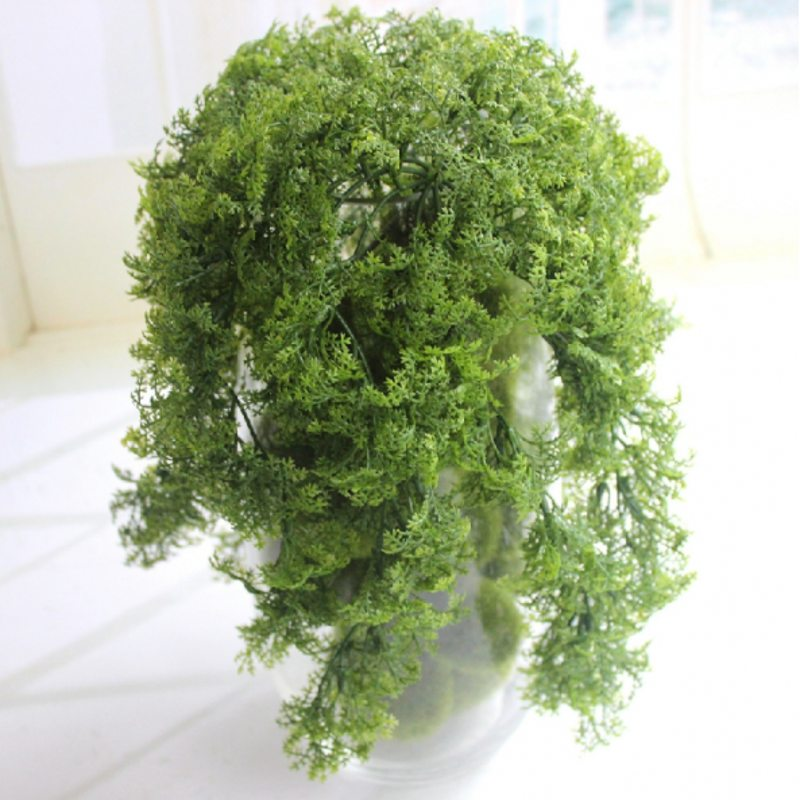 30cm 10 Branch Plastic Faux Plants Home Church Furniture Beach Decor Hanging Basket Artificial Moss Grass Plant Tree Green