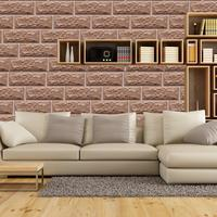 New Coming Creative 3d Tile Wallpaper Self Adhesive PVC Kitchen Wall Paper Rolls 10m Living Room Brown Wallpapers Brick EZ163