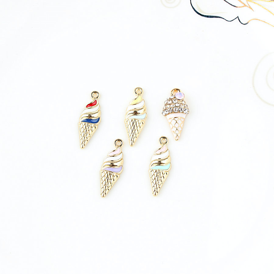 20PCS/Lot New Arrival Oil Drop Metal Alloy Ice Cream DIY Jewelry Bracelet Charms Gold Color Tone Necklace Floating Charm