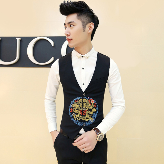 Men's suit vest Retro Chinese style Royal Dragon embroidery slim vest Wedding dress fashion casual evening party clothing MJ08