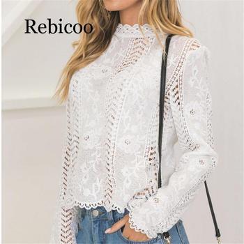 women ladies blouse long sleeve white Lace hollow turtleneck blouse Top Summer Blouses Cap Elegant Blouse for female