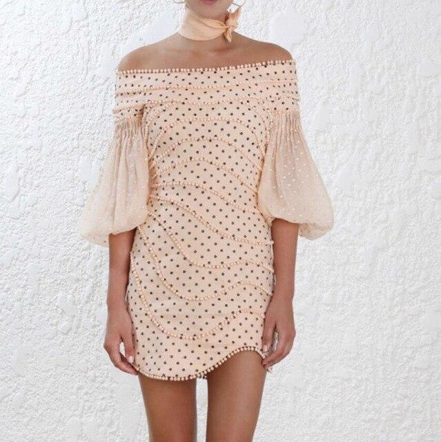 [DEAT] 2020 spring New Arrival Fashion Slash Neck Lantern Sleeve Beading Casual Half Sleeve Sheath Women Dress Lady KB550 2