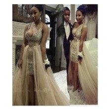 2016 Sexy A-linie Champagne Farbe Prom Kleid Mit Luxus Perlen Und Kristall Lange Abendkleid Chiffon Lange Vestidos De Noche