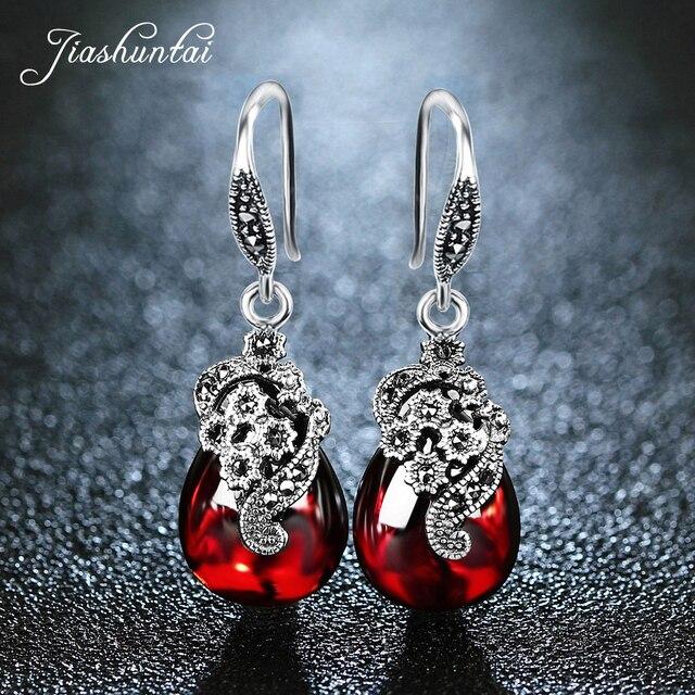 JIASHUNTAI Silver 925 Earrings for Women Vintage Dangle Earrings 100% 925 Sterling Silver Jewelry Female Natural Stone